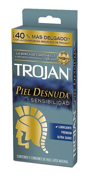 Condón Piel Desnuda Sensibilidad Pack 9 Piezas Trojan