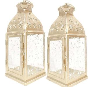 2 Lanterna Marroquina Decorativa Porta Velas Vidro Folhas Sj
