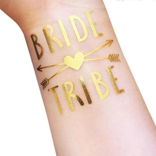 12 Tatuaje Temporal Dorado Bride Love Despedida Soltera