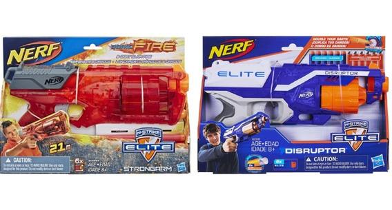 2 Lançadores Nerf Accustrike Disruptor E Strongarm - Hasbro