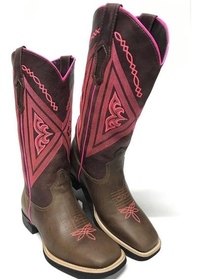 Bota Feminina Vimar Texana Dallas Castor Rosa