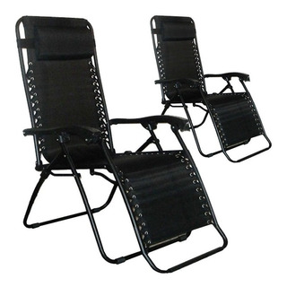 Kit 02 Cadeira Sevilha 21 Posições Com Encosto Preta Mor