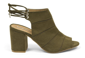 Zapatos Botines Abiertos Mujer Verde Oscuro 8302