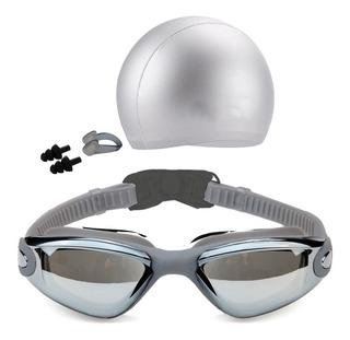 Set De Natacion Goggles Con Gorro Y Clip Gris D3074