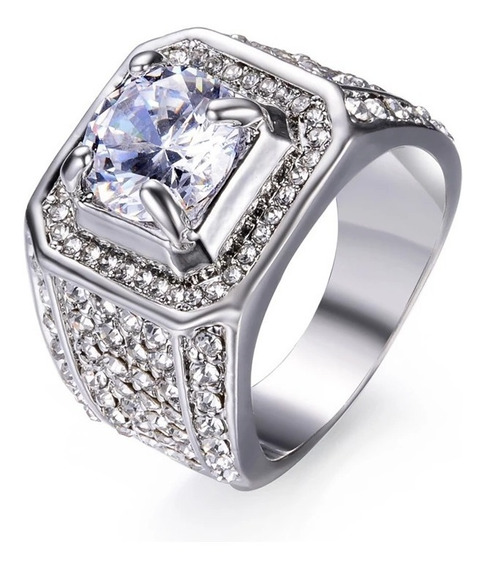 Anel Banhado Prata 925 Pedra Zirconia Luxuoso Qualidade