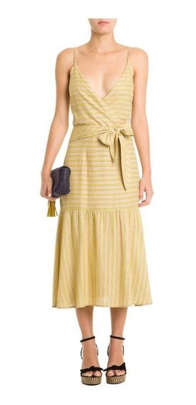 Vestido Maria Filó Midi Listras Citronela Tam G Com Tag