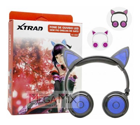 Fone Ouvido Orelha De Gato Com Led Luz Headphone P2