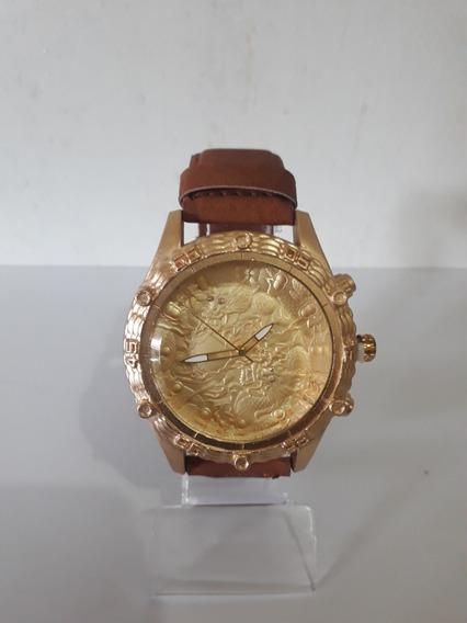 Relógio Masculino Dourado Pulseira Couro Sintético Barato