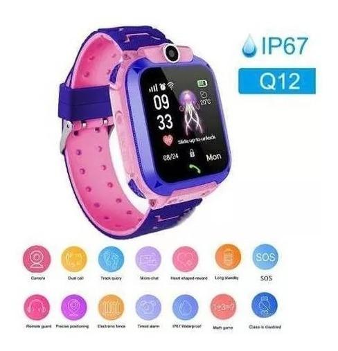 Relógio Infantil Gps Cor Rosa C/azul Chamadas Sos Smarth