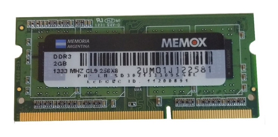 Memoria Sodimm Ddr3 2gb 1333mhz Pc-10600 Notebook Netbook