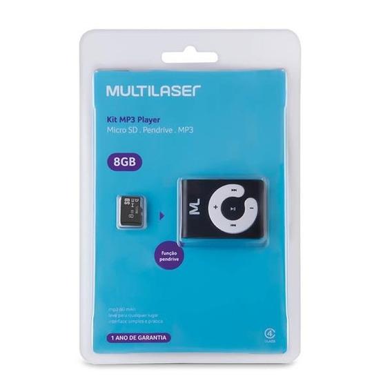 Mp3 Player + Micro Sd 8 Gb Multilaser Mc300 - Com Nfe