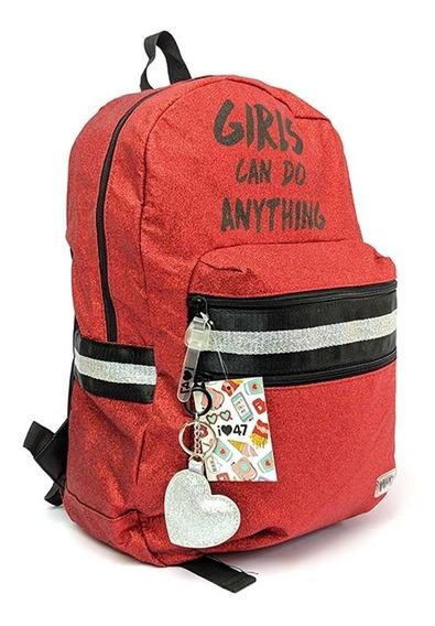 Mochila 47 Street Girls Can Do Anything 17 Original Rojo
