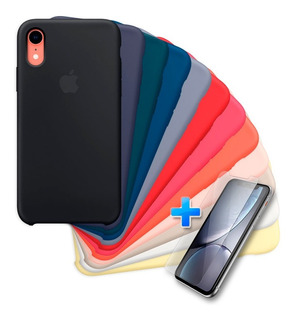 Carcasa Silicona Logo Apple iPhone XR + Lamina De Vidrio