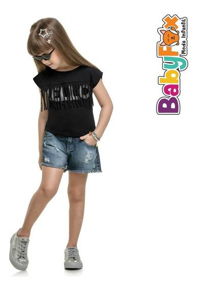Blusa Infantil Menina Preta Cropped