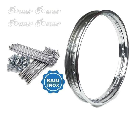 Aro Roda Dianteiro Nxr Bros 125-150-160 + Raios Inox 3,5mm