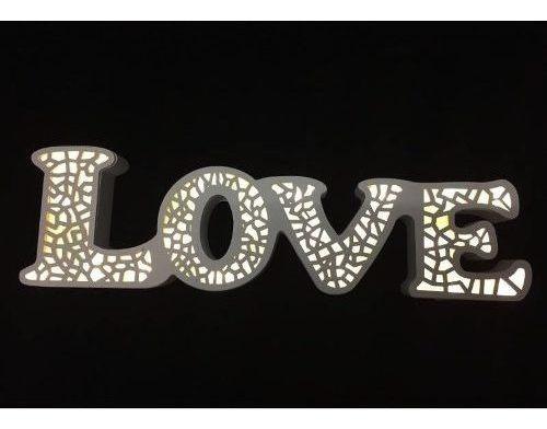 Cartel Luminoso Luces Leds Letras Love Formas Caladas 38 Cm