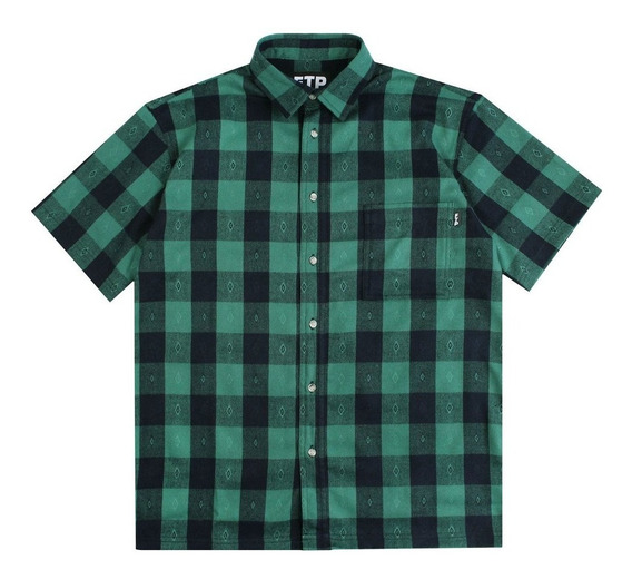 Camisa Ftp Fuck The Population - Plaid Button Up 2 - Green