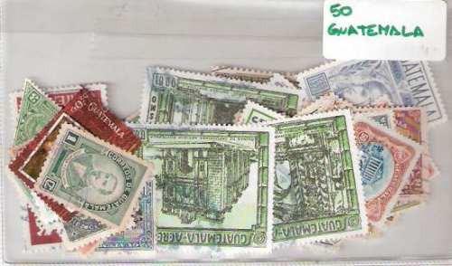 Lote De 50 Estampillas De Guatemala Distintas ¡oferta !