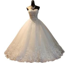 Vestido De Noiva Tomara Que Caia Princesa Pedraria Luxo 42