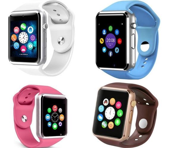 Relógio Smartwhatch Dourado Prata Android Bluetooth Rosa Azu