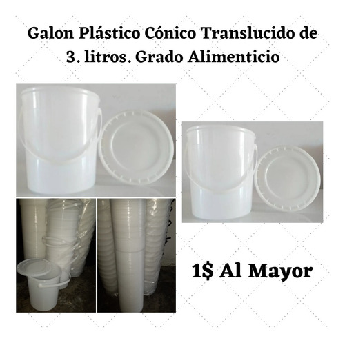 Envase De Galón Plástico Cónico De 3 Litrs Grado Alimenticio