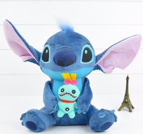Stitch Pelúcia Com Boneca Xepa Scrump Original Disney 22cm