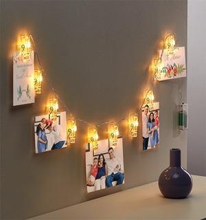 Porta Retratos Pared Serie De Luz Clip 10 Pinzas Luces Led