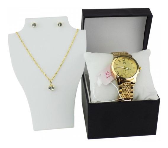 Relógio Feminino Dourado Coleção Maria+brinde Colar E Brinco