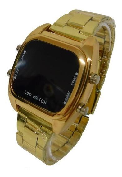 Relógio Led Digital Feminino Masculino Dourado Quadrado
