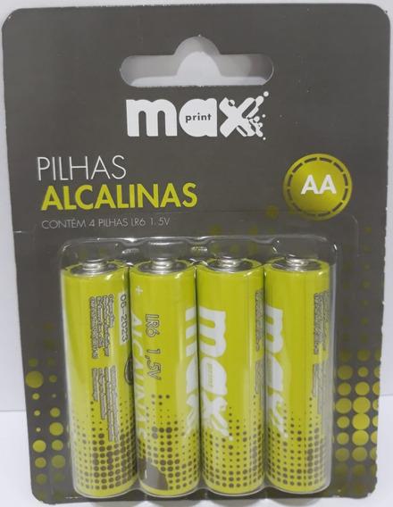 Pilha Alcalinas Maxprint Aa Lr6 1,5v 4 Unid 75634-3