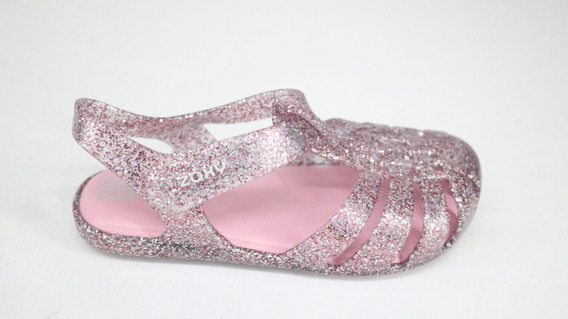 Sapatilha Grendene Zaxy Nina Conforto Rosa Glitter