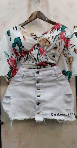 Saia De Bico Plus Size Branco Jeans Carabina Jeans