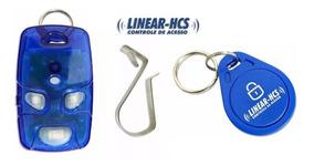 40 Controle Linear-hcs Tx 4 Botões Azul + 10 Chaveiro Tag