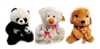 Peluche De Animales Con Su Bebé 35cm Precio X Unid Adorables