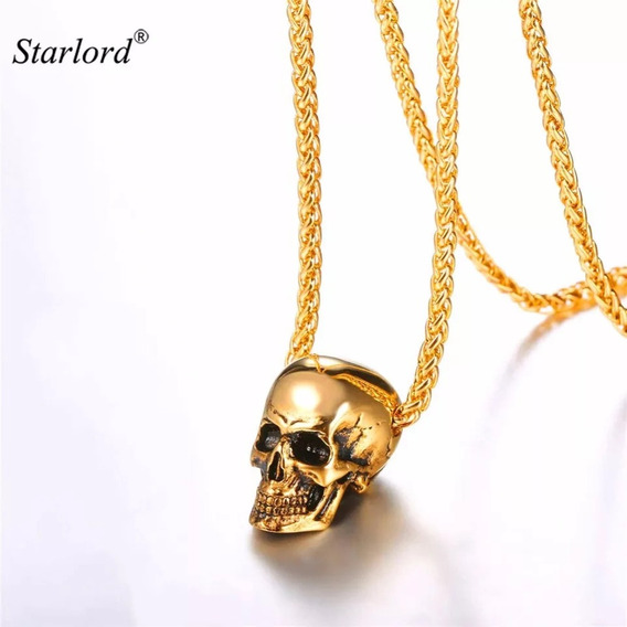 Colar Caveira Dourada,c/caixa,rock,metal,punk,skull3d,linda