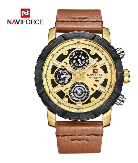 Relógio Masculino Correia De Couro Naviforce Original