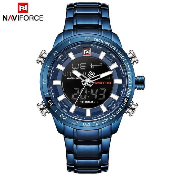 Relógio Masculino Naviforce 9093 Azul Promoção Barato Novo