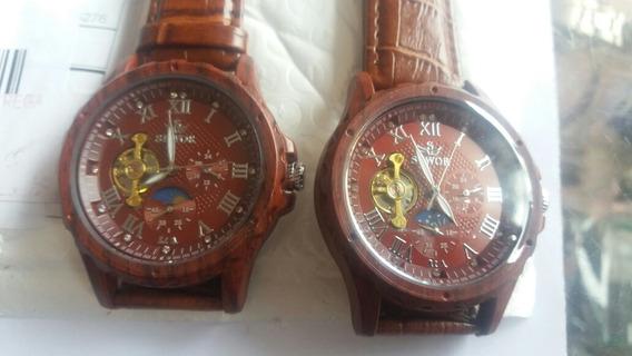 Relógio De Pulso Automático Sewor Turbilhon Madeira