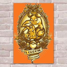 Placa Decorativa Fan Art 15 Pokémon I Choose Eletric
