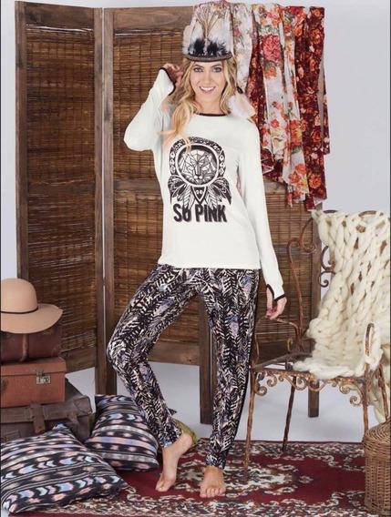 Pijama Invierno So Pink Art.11357 Talles S-m-l-xl Estampado