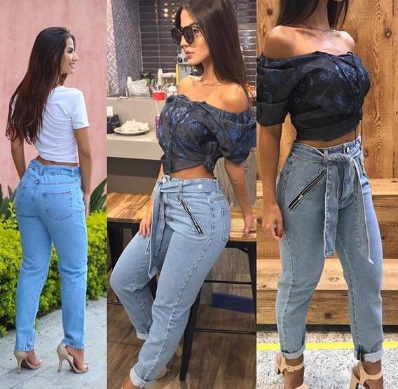 Calça Feminina Jeans Exclusiva Clochard Deusa Laço Cintura