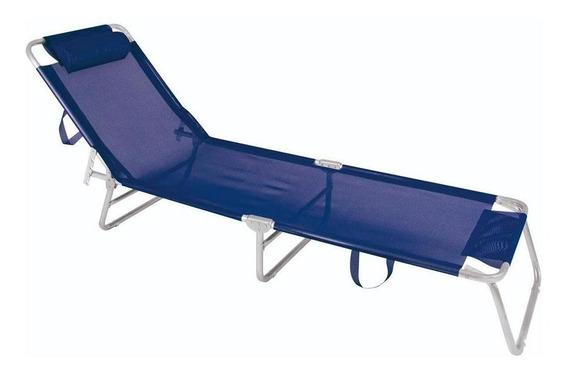 Cadeira Espreguiçadeira Alumínio Azul Marinho Mor