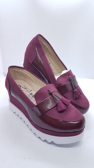 Zapatos Colombianos Para Dama Mocasines Suela Alta Vinotinto