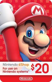 Cartão Nintendo Eshop Usa Switch 3ds Wii U Ecash $20 Dolares