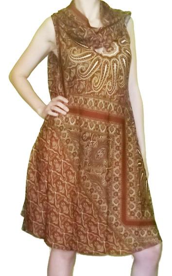 Vestido Hindú Seda Rayón Holi Rapsodia Importado India Xl