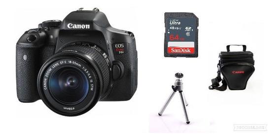 Câmera Canon Eos Rebel T6i C/ 18-55mm+ 64gb+ Bolsa+ Tripé