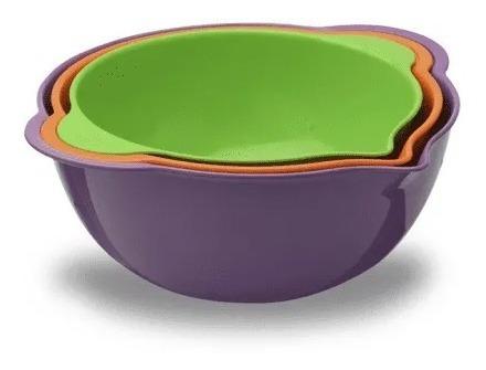 Set X 3 Bowls Mezcladores Con Vertedor Pasteleria Ensaladera