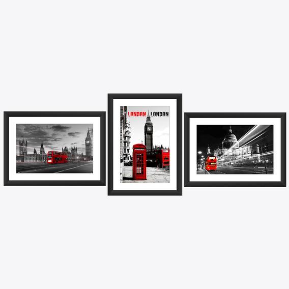 Kit 3 Quadro Londres Ponte Onibus Bigben Vermelho Fone 45x60