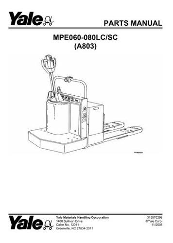 Manual Pecas Yale Mpe 060 Mpe080lc Sc Serie B803  178pg