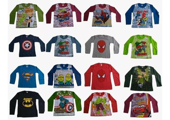 Kit 12 Camiseta Menino Infantil Manga Comprida Barato Lindas